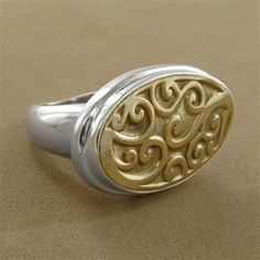 Sterling Silver Bronze Oval Carved RING ~ by Janice Giradi _____________________________ Reposted by Dr. Veronica Lee, DNP (Depew/Buffalo, NY, US)