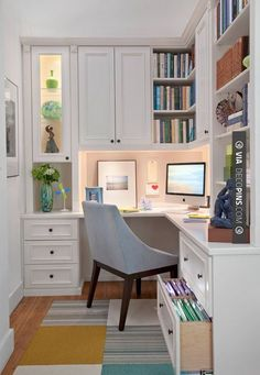 Like this! - Home Office with white corner desk | CHECK OUT MORE REMODELING…