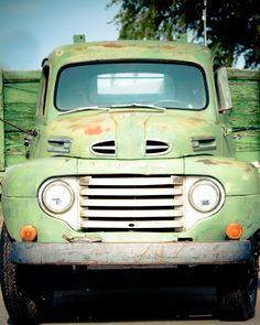 Vintage Green Ford Truck 8 x 10 Photograph by TerraVision on Etsy, – En Güncel Araba Resimleri Old Ford Trucks, Old Pickup Trucks, Farm Trucks, Cool Trucks, Diesel Trucks, Ford Diesel, Toyota Trucks, Antique Trucks, Vintage Trucks