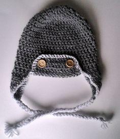 Aviator Pilots Cap  Crochet Beanie or Ear flap Hat - Infant hat through Adult hat. $22.00, via Etsy.