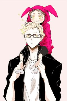 Isn't this darling? For once Tsukishima looks actually kind ^^ And that pink hoodie with bunny ears Sugawara is wearing is the sweetest thing!