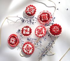 Martisor - Brooch, Fantasy Motifs, Traditional - Folk, Crocheted and Sewn by Hand by Alaalina on Etsy Romanian Girls, Beginning Of Spring, Hand Sewing, Red And White, Crochet Earrings, Folk, Brooch, Traditional, Trending Outfits