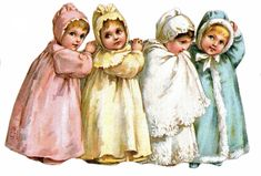 Sweet little Victorian girls dressed for bedtime in winter. Victorian Pictures, Vintage Pictures, Vintage Images, Vintage Greeting Cards, Vintage Postcards, Vintage Love, Vintage Prints, Vintage Illustration, Retro