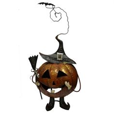 shop fusion metal art jack o lantern statute at lowes canada find our selection of indoor halloween decorations at the lowest price guaranteed with price - Metal Halloween Decorations