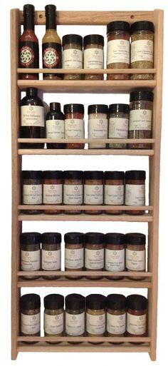 """Solid OAK Wood Spice Rack / 32.75""""h X 13.75 """"W / Wall Mount Wooden Spice Rack"""