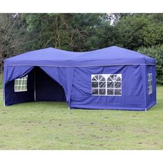 10 x 20 Palm Springs Blue Pop-up Canopy Gazebo Party Tent with 6 Side Walls New