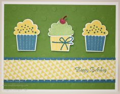 Birthday Card using Create a Cupcake stamp set by Stampin' Up!  http://www.sweetstamping.com