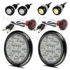 Pair of LED Low-Profile 2.5 RED Side Markers LED Trailer Truck RV Lights Wire Plugs 2.5 Round LED, Red LED Light Kit w// Steel Mounting Brackets /& Grommets