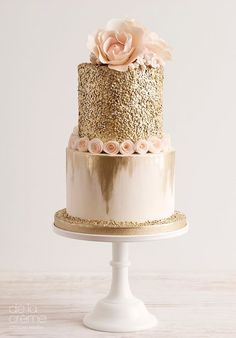 Gold sequined and blush wedding cake | by De La Creme Studio