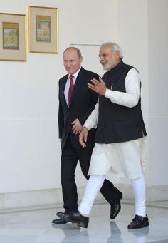 Vladimir Putin with Narendra Modi