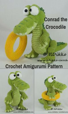 Conrad the Crocodile is a fun crocheted amigurumi doll that would love to come and swim in your pool. He will even bring his own pool toy with him! You can create your own Conrad the Crocodile with this downloadable pattern. #crochet #amigurumi #crochetdoll #ad #amigurumidoll #amigurumipattern #crocodile #instantdownload