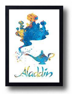 Aladdin Magic Lamp Disney Watercolor Art Print by BogiArtPrint
