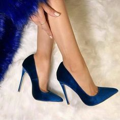 BIGTREE shoes Women's high heels pumps Blue heels Female party shoe ladies stiletto pointed fashion zapatos de mujer in 2020 High Heel Pumps, Pumps Heels, Stiletto Heels, Flats, Pointed Toe Heels, Glitter Heels, Suede Pumps, Cute Shoes, Me Too Shoes
