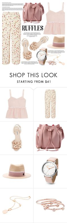 """""""All Ruffled Up"""" by helenevlacho ❤ liked on Polyvore featuring Steve J & Yoni P, Dorothy Perkins, Miu Miu, Maison Michel, Rina Limor, London Road, ruffles and contestentry"""