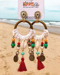 Fabric Jewelry, Boho Jewelry, Jewelry Art, Jewelery, Jewelry Accessories, Fashion Jewelry, Shell Earrings, Boho Earrings, Earrings Handmade