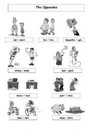 English Worksheets: OPPOSITES