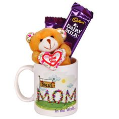 Make your mother feel how important she is in your life with small token of love Gift hamper includes: Dear Mom white ceramic coffee mug. Small teddy bear. Size: 2.5 inches. 2 Cadbury Dairy Milk chocolates. Net weight: 18 grams each.  Rs 599/- http://www.tajonline.com/mothers-day-gifts/product/md2140/world-s-greatest-mom/?aff=pint2014/