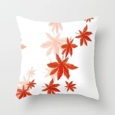 Throw Pillow made from 100% spun polyester poplin fabric, a stylish statement that will liven up any room. Individually cut and sewn by hand, each pillow features a double-sided print and is finished with a concealed zipper for ease of care.  Sold with or without faux down pillow insert. #society6 #watercolorpainting #nature #autumn #red #maple 10% OFF + FREE SHIPPING ON EVERYTHING TODAY!