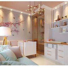 Like the floating shelves, subtle wall color and cherry blossom applique - also the cupboard doors being clear ensure neatness and light airy rooms Baby Bedroom, Baby Boy Rooms, Baby Room Decor, Kids Bedroom, Bedroom Decor, Disney Bedrooms, Interior Exterior, Interiores Design, Girl Room