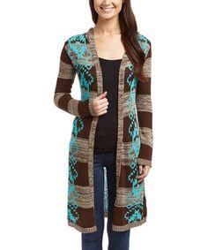 Loving this Brown Wood & Aqua Geometric Stripe Long Open Cardigan on #zulily! #zulilyfinds