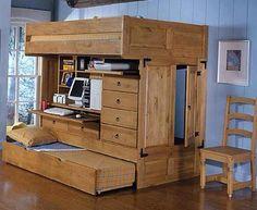 ¿Qué tal este? cama, escritorio y armario a la vez.