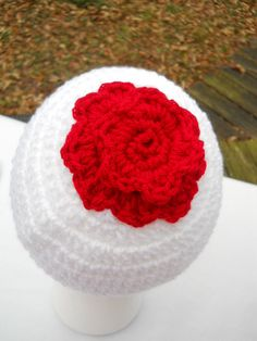 Crochet Hat  White with Red Trim and Red by crochetedbycharlene, $15.40