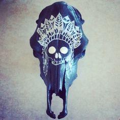 Black faint sparkle cow skull with hand by ABSkullDecorandMore