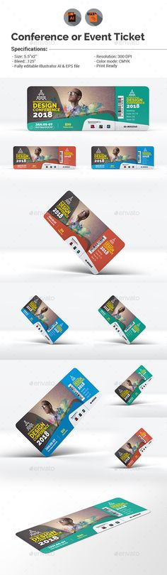 Conference or Event Ticket Design Template - Cards & Invites Print Ticket Design Template Vector EPS, AI Illustrator. Download here: https://graphicriver.net/item/conference-or-event-ticket-template/19106133?ref=yinkira