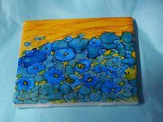 Hand painted Tile - Field of Blue Flowers - Wall Hanging, Coaster or Trivet - 4x4 KellyandEmilyART