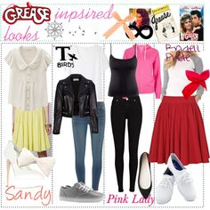 Retro Fashion Sandy - this one is inspired by the outfit Sandy wears on her first day at Rydell during Summer Nights. T-Bi. Grease Outfits, Grease Costumes, 50s Outfits, Pin Up Outfits, Cosplay Outfits, Cute Outfits, Sock Hop Outfits, Retro Fashion 50s, Rockabilly Fashion