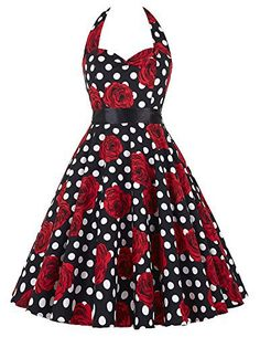 GRACE KARIN® Women 50s Dress Halter Rockabilly Vintage Dresses CL6075