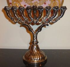 HAZORFIM VINTAGE STERLING SILVER JUDAICA MENORAH