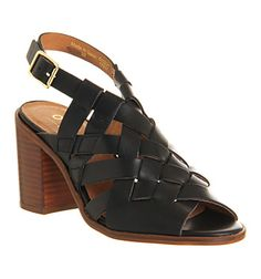 Office Gamble Strappy Block Heel Black Leather - Mid Heels