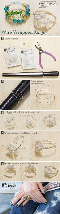 Wire Wrapped Rings are quick and easy. See how with this tutorial - jewelry, earrings, statement, homemade, men\'s, maharashtrian jewellery *ad