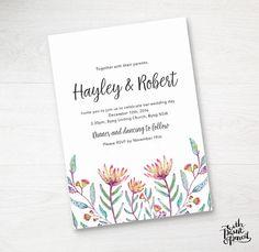 Protea Wedding Invitation / Printable Wedding Invite / Watercolor Wedding Invitations, Printable Wedding Invitations, Floral Invitation, Floral Wedding Invitations, Invitation Design, Invites, When You Are Happy, As You Like, Protea Wedding