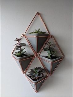 4 Geometric Planters, Wall Hanging Planter Vase for Indoor Wall Decor, White Ceramic/Heavy Resin Planter Pot for Succulent or Air Plants,