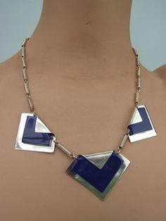 Modernist Necklace by BENGEL.   ++++   Navy colored chunky galalith modernist necklace, made by the Bengel factory in early 1930's. Similar pattern necklaces can be seen in the first Bengel book on page 202. It measures 19 inches from clasp to clasp (48cm) and the central panel measures 2 inches by 1.5 (5cm x 4).