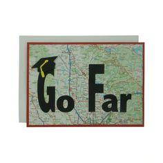 Custom Map Graduation Card - Go Far - Handmade Graduation Cap Graduation Congratulations Card - Custom Map Location and Color - Grad Gift - Embellish by Jackie