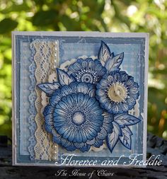 Handmade Greetings Cards - Rubber Stamping by carlene Greeting Cards Handmade, Handmade Greetings, Quilling Paper Craft, Spellbinders Cards, Hand Stamped Cards, Pretty Cards, Paper Cards, Flower Cards, Blue Flowers