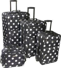 Rockland Luggage Polka Dot Expandable 4 Piece Luggage Set. Black Dot - via eBags.com!