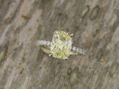 Radiant Cut Yellow Sapphire 3.87ct Diamond Accented Engagment Ring Yellow Diamond Alternative Wedding Ring #weddingring