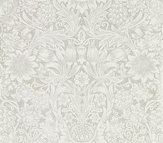 Pure Sunflower Chalk / Silver wallpaper by Morris
