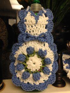 My own crochet Kitchen Dish Soap bottle Apron Cover http://www.ravelry.com/projects/allnineskr/sweetheart-kitchen-soap-bottle-apron