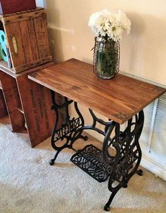 """Sewing Vintage Hometalk :: Reclaimed Wood Sewing Machine Table - This was a fairly easy project, with beautiful results! I was fortunate enough to find this """"Domestic"""", cast iron sewing machine base at a local thrift store t… Old Sewing Machine Table, Sewing Machines Best, Antique Sewing Machines, Old Sewing Tables, Repurposed Furniture, Vintage Furniture, Painted Furniture, Home Furniture, Furniture Styles"""