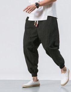 Drop Crotch Linen Trousers Sirwal with in Black (Colours) Men Street Look, Drop Crotch Joggers, Urban Fashion, Mens Fashion, Cheap Fashion, Muslim Men, Scandinavian Fashion, Men Trousers, Islamic Clothing