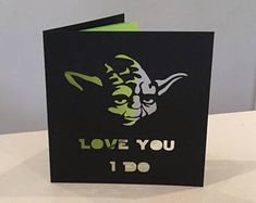 Yoda Star Wars love Valentine card SilhouetteCards.co.uk Etsy