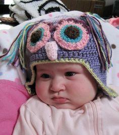 Purple Owl Crocheted Crochet Owl Hat, Purple Owl, Beanie, Beanies, Beret