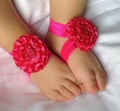 Hot pink barefoot Baby Sandalsbaby barefoot  by PicturePerfectDiva, $4.99