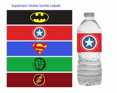 Superhero Water Bottle Labels, Superhero birthday, Superhero party, Batman…