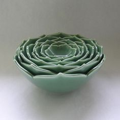 Ceramic Nesting Bowls Serving Bowls Set of Eight Green Bowls or Your Choice of Color